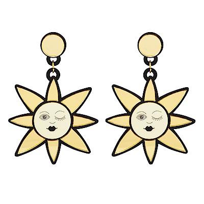 Yazbukey法國品牌 眨眼金色太陽垂墜夾式耳環