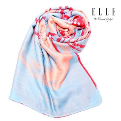 ELLE法式浪漫花朵圖案披肩_藍/黃/粉