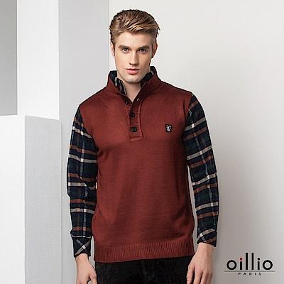 oillio歐洲貴族 長袖假兩件立領毛衣  柔軟保暖羊毛 紅色