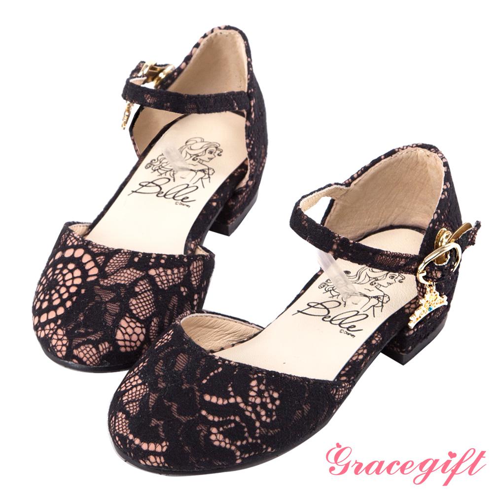 Disney collection by grace gift-皇冠吊飾童鞋 粉蕾絲