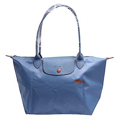 LONGCHAMP Collection刺繡摺疊暗釦/拉鍊長提把尼龍水餃包(大-粉藍色)