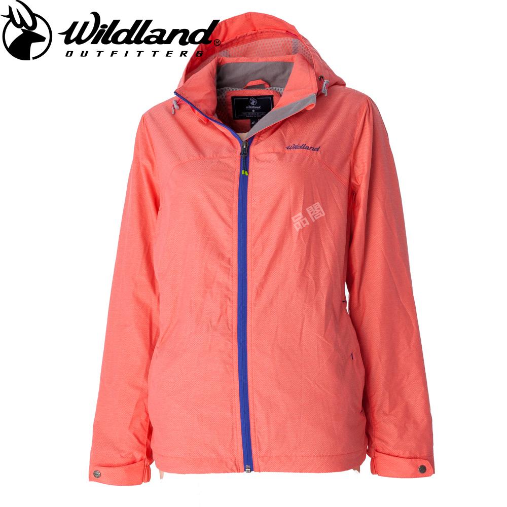 【Wildland 荒野】女輕量網布刷毛裡防風外套粉橘