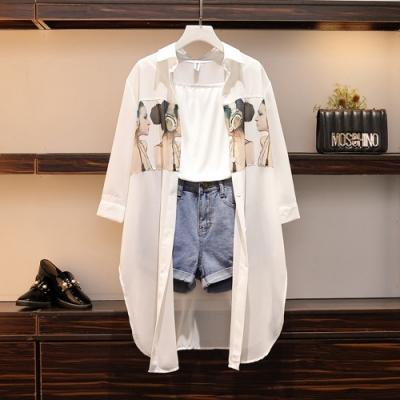 個性潮流印花襯衫外套牛仔短褲三件式套裝-M~4XL-KVOLL