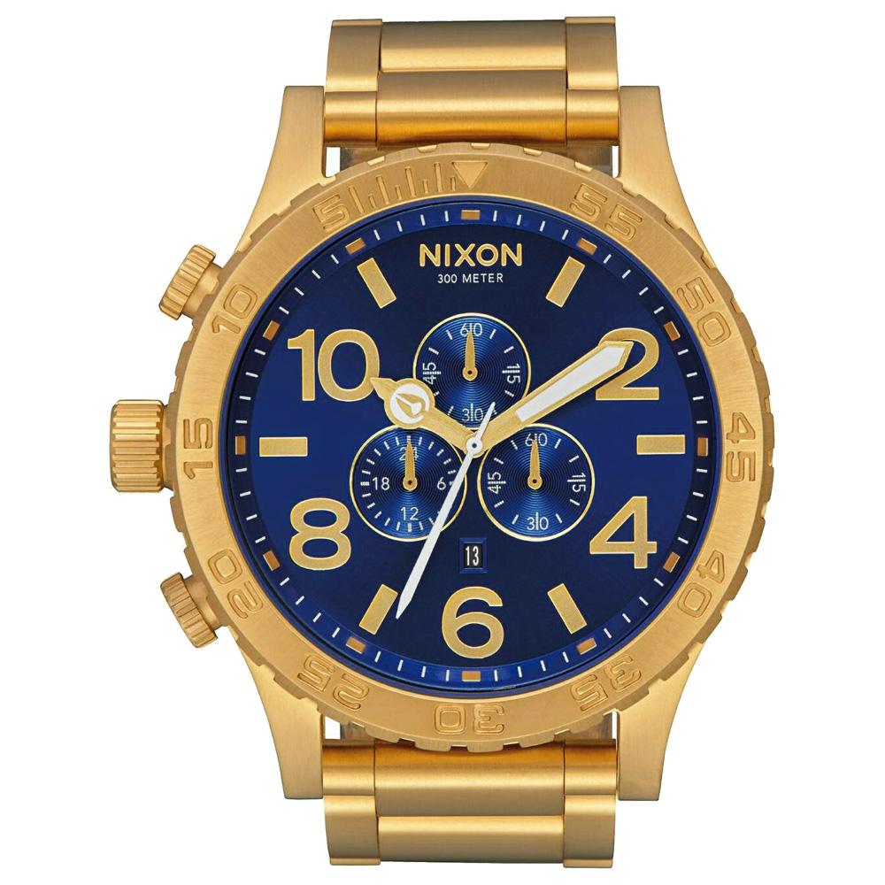 NIXON 51-30 CHRONO 潛龍諜影運動腕錶(A0832735)-金X藍