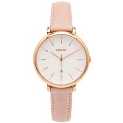 FOSSIL 簡約粉嫩風的皮革手錶(ES4369)-白面x粉色/36mm