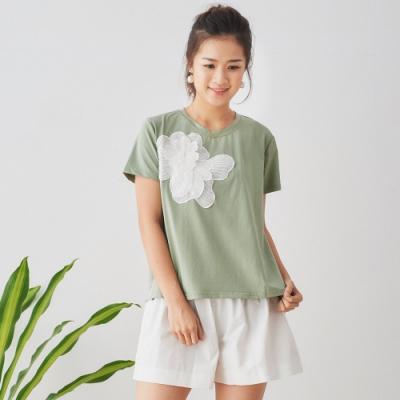 【白鵝buyer】 立體拼接花朵前短後長棉T恤_綠
