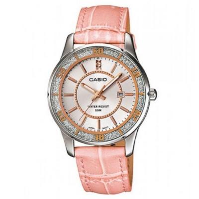 CASIO 甜美馬卡龍色系錶帶系列-晶鑽粉(LTP-1358L-4A)/32mm