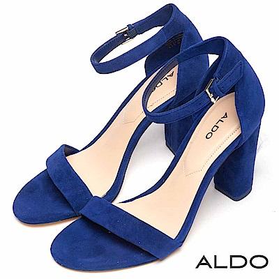 ALDO 原色真皮一字繫踝釦帶粗高跟涼鞋~典雅藍色