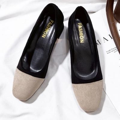 KEITH-WILL時尚鞋館 好評加碼甜美優雅拼接粗跟鞋-黑