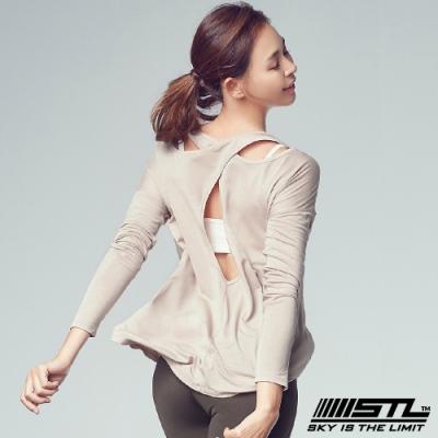 STL Hole Back Long Sleeve 韓國運動機能美背長袖上衣 長本質交叉可可奶