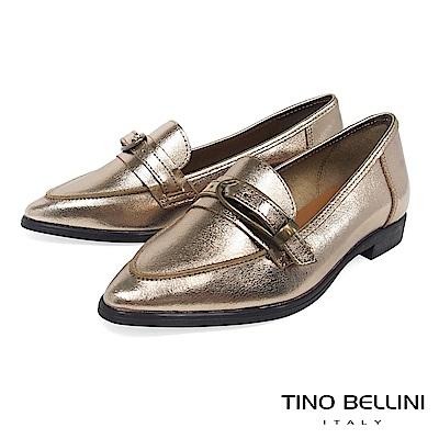 Tino Bellini 義大利進口皮帶飾釦尖楦微跟樂福鞋 _ 香檳金