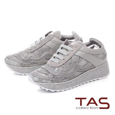 TAS水鑽蕾絲拼接厚底運動休閒鞋-時尚灰