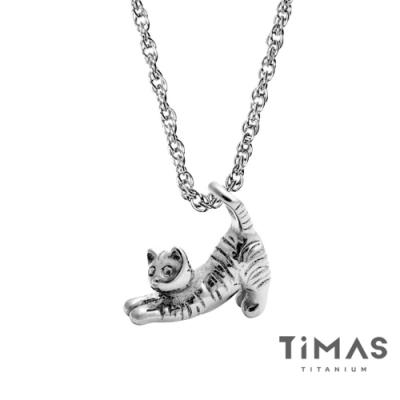TiMAS《瑜珈貓》純鈦項鍊(SB)
