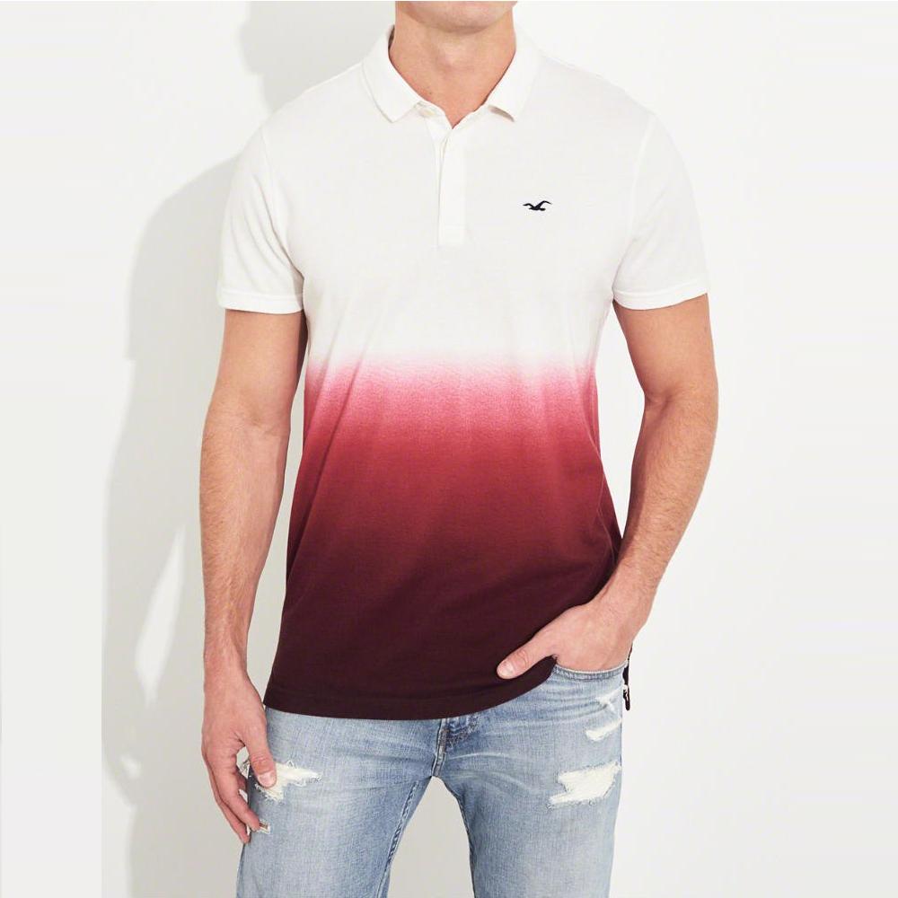 HCO Hollister 海鷗 經典電繡海鷗標短袖Polo衫-白紅漸層色