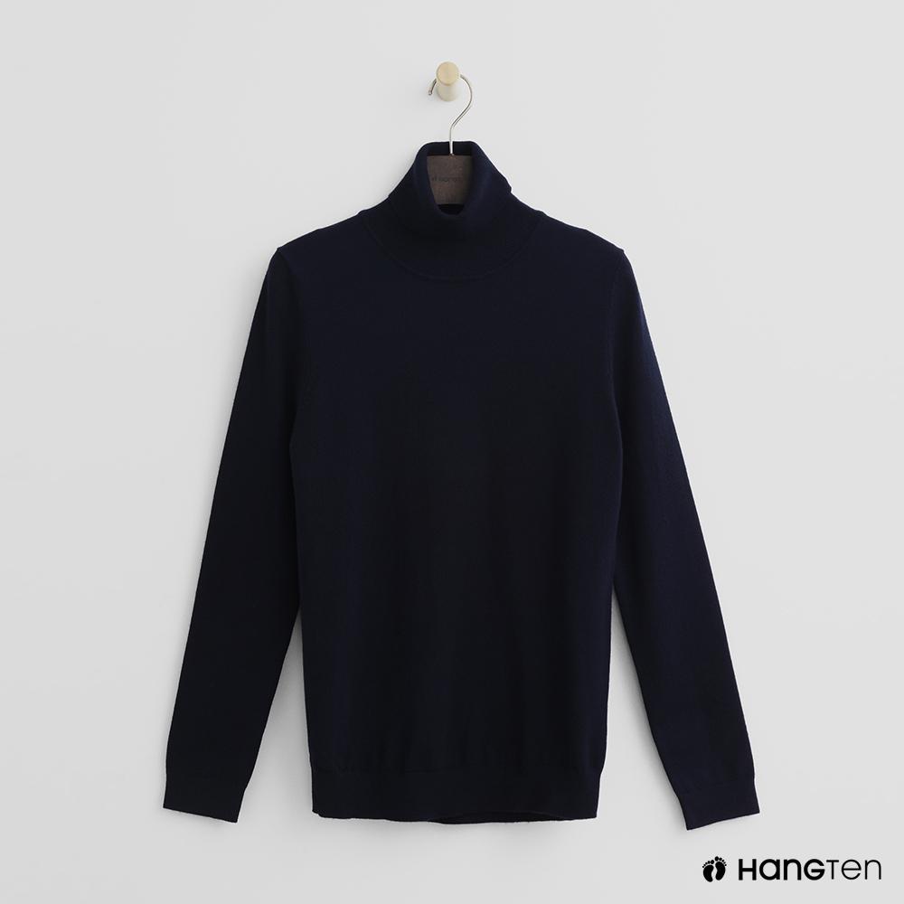 Hang Ten - 女裝 - 質感高領針織上衣-藍