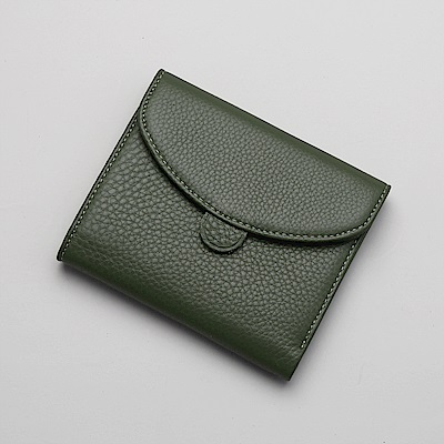 ANNA DOLLY 極簡優雅Enid荔枝紋牛皮短夾 (共4色)
