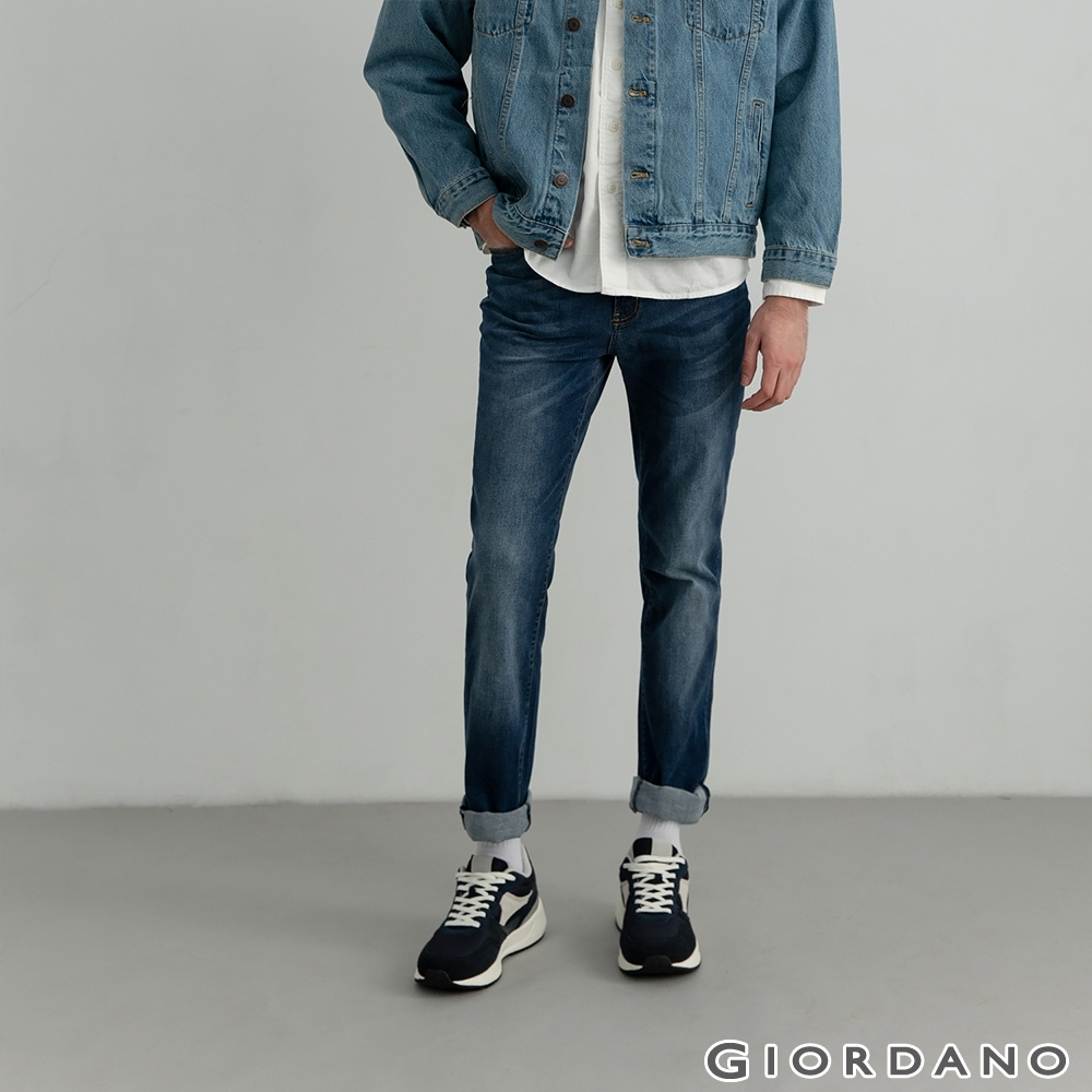GIORDANO 男裝超彈力中腰錐形牛仔褲 - 11 深藍