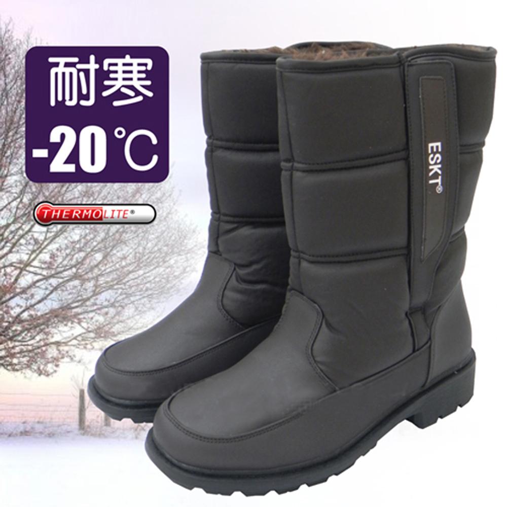 英倫型男 男新款 簡約時尚高筒保暖雪靴_咖啡