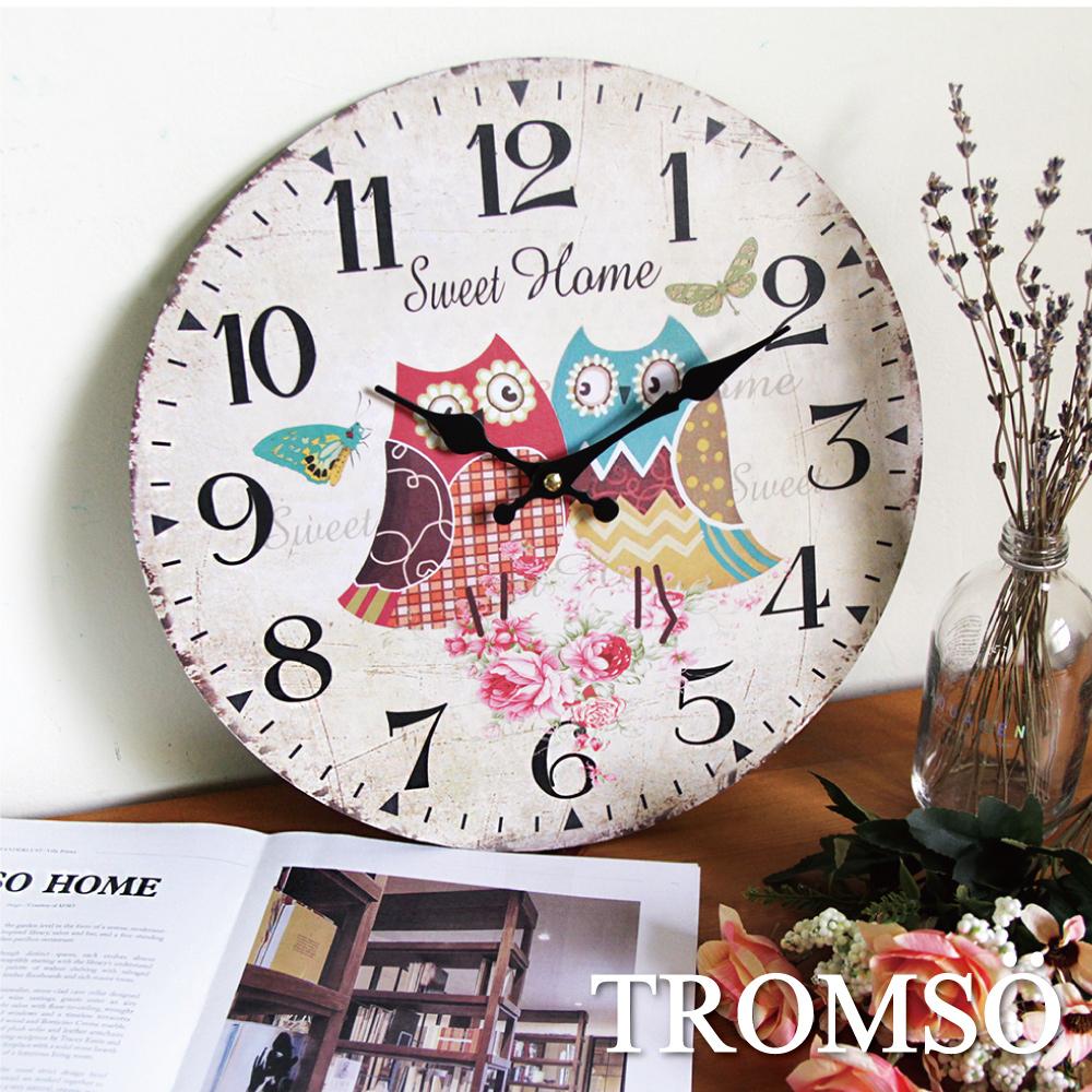 TROMSO無框畫時鐘-花園貓頭鷹(圓形)