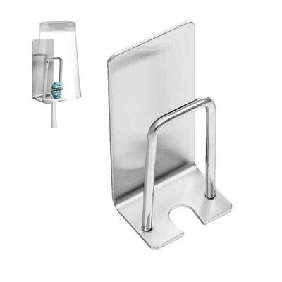 (4入)免釘免打孔 省空間二合一不鏽鋼牙刷杯架 漱口杯架 物品吊掛架 手動刮鬍刀架 掛勾