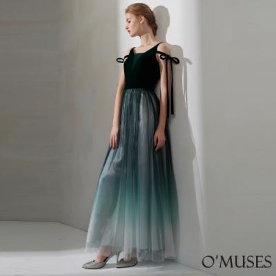 OMUSES 絲絨V領蕾絲漸層長禮服