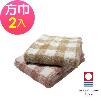 日本今治 純天然有機棉無染色方巾-方格(超值2入組)