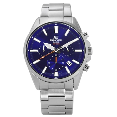 EDIFICE CASIO 卡西歐追風競速日期三環不鏽鋼手錶-藍色/43mm