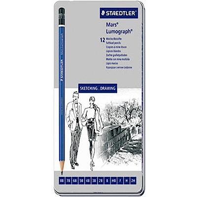 STAEDTLER 施德樓 100頂級藍桿繪圖鉛筆 12支鐵盒鉛筆組