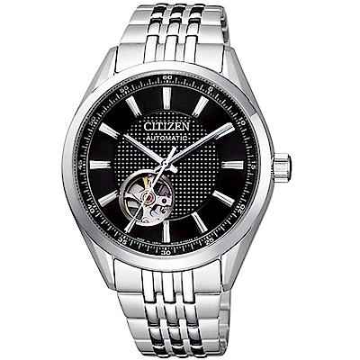 CITIZEN 星辰紳士時尚開芯機械腕錶(NH9110-81E)-黑