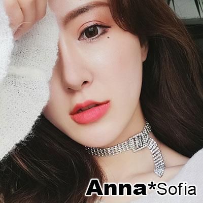 【3件5折】AnnaSofia 奢華滿鑽方釦 鎖骨鍊項鍊頸鍊CHOKER