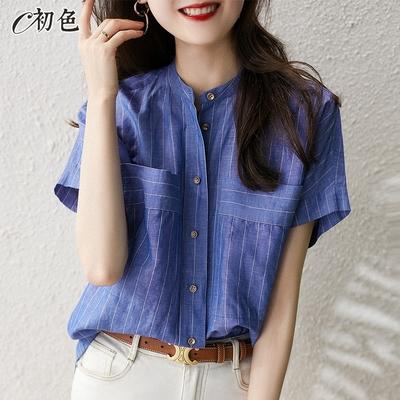 初色  棉麻立領條紋襯衫-藍色條紋-(M-2XL可選)