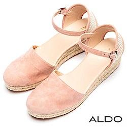 ALDO 原色麻花編織防水台繫踝小坡跟鞋~戀愛淺粉