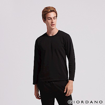 GIORDANO  男裝Homewear厚款圓領素色居家服(上衣) -08 標誌黑