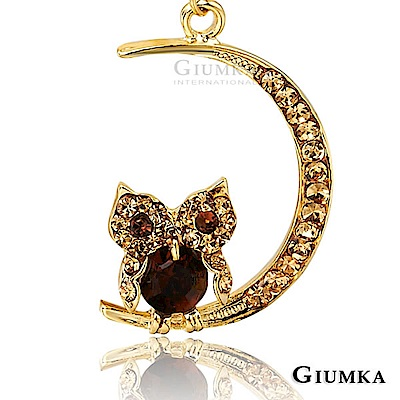 GIUMKA貓頭鷹星月守護針式耳環精鍍黃K金色
