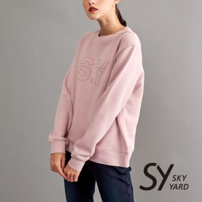 【SKY YARD 天空花園】素面棉質SY印花長袖衛衣-粉色