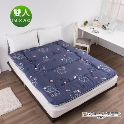 【FL生活+】日式加厚8cm雙人床墊(150*200cm)-可愛汪汪(FL-109-W)