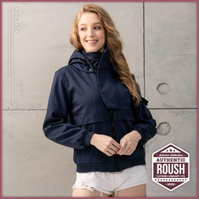 Roush (情侶款)女生立領連帽機能性衝鋒外套(3色)
