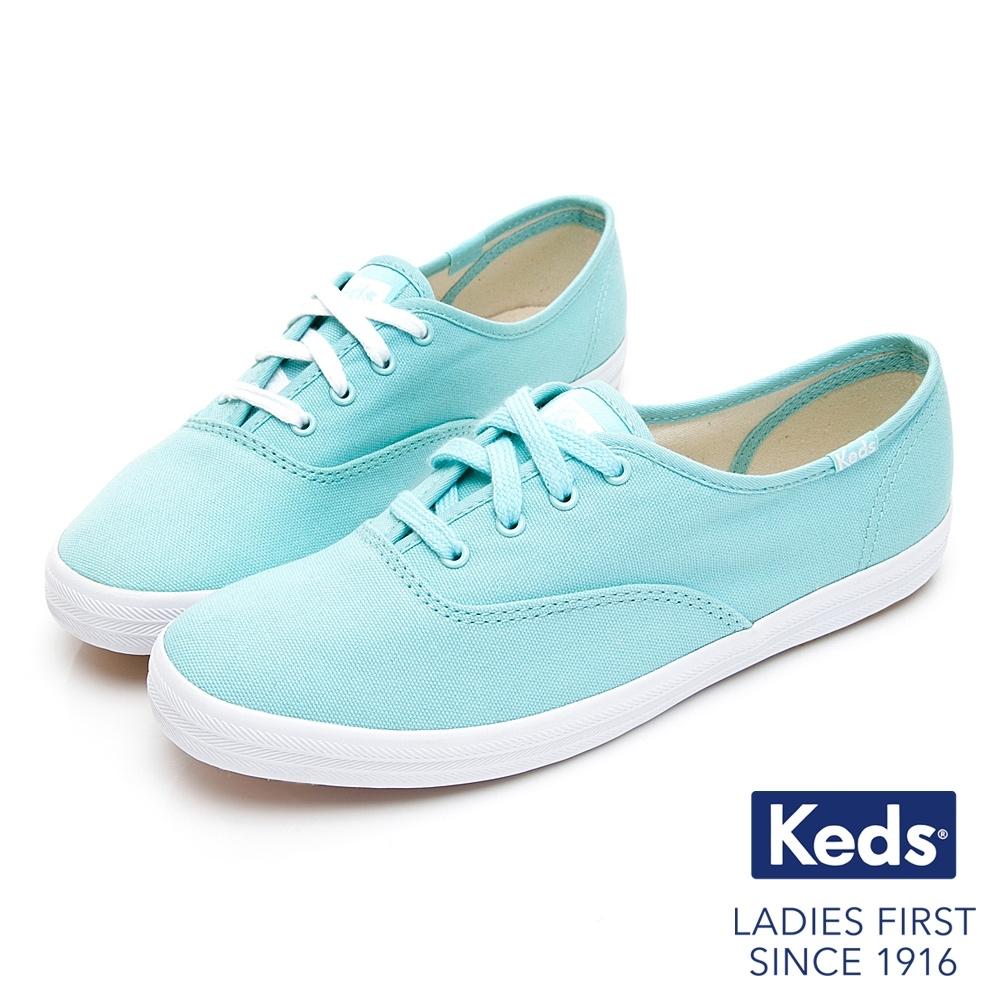 Keds CHAMPION 繽紛活力綁帶帆布鞋-湖水綠