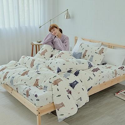 AmissU 北歐送暖法蘭絨雙人加大床包枕套3件組 奇幻樂熊