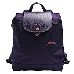LONGCHAMP 經典Collection系列刺繡摺疊暗釦/拉鍊後背包(藍莓色)
