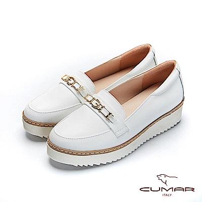 CUMAR文藝羅浮宮- 經典金屬飾釦厚底休閒鞋-白
