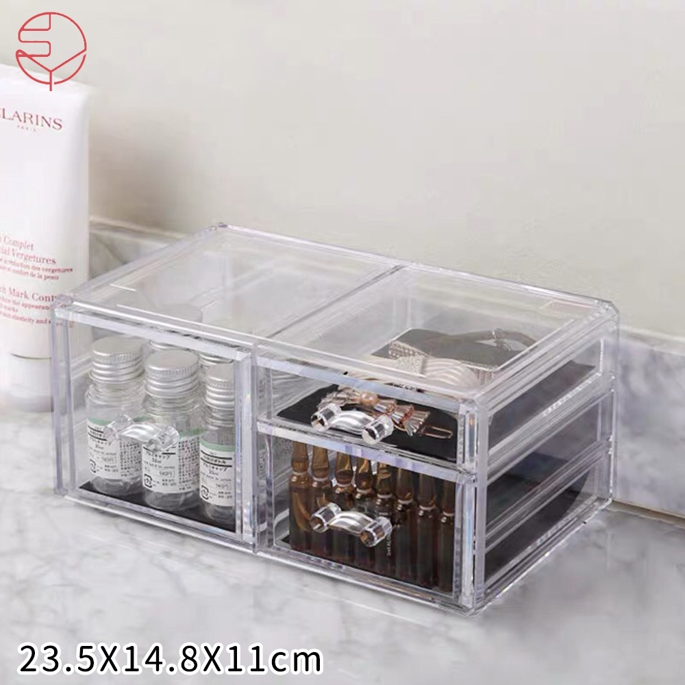 日本霜山 壓克力透明化妝品抽屜式收纳盒(左右三層抽屜)