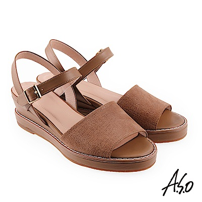 A.S.O 希臘渡假 全真皮質感楔型涼拖鞋卡其