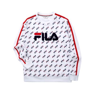 FILA 吸濕排汗全印圓領T恤-白色 1TET-5448-WT