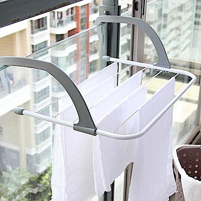 【E.dot】多功能可掛式可折疊收納曬衣褲架(2入組)