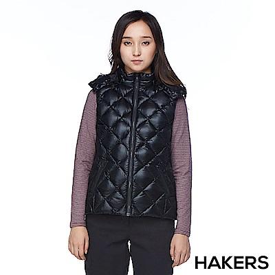 【HAKERS】女款 羽絨背心(黑色)