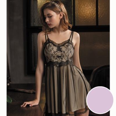 華歌爾睡衣-甜美夢幻 M-L  睡衣裙裝 (紫)一件式超細針織