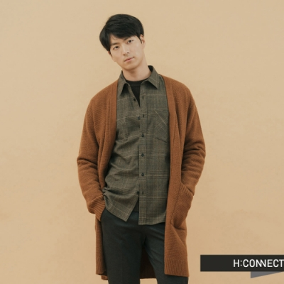 H:CONNECT 韓國品牌 男裝-開襟雙口袋針織外套 - 棕(快)