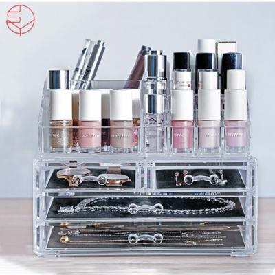 【日本霜山】壓克力透明化妝品抽屜式收纳盒+多格口紅收納盒(三層抽屜)
