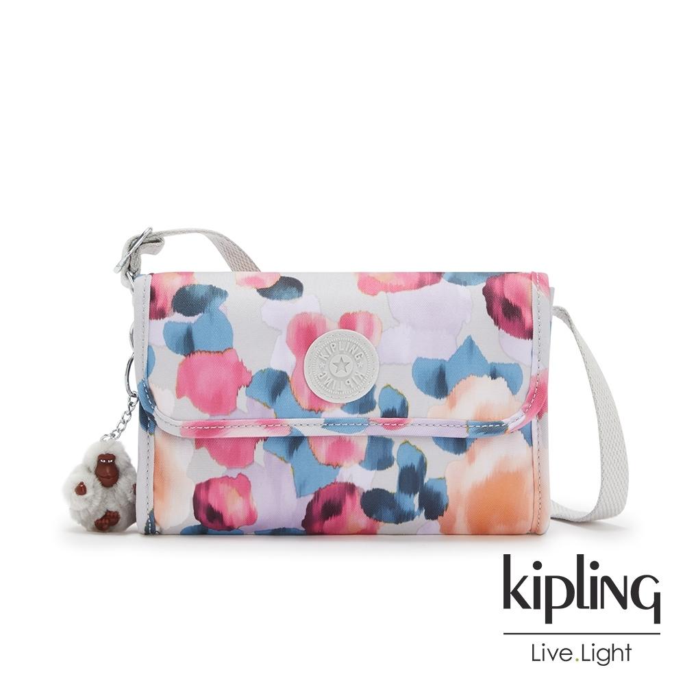 Kipling 繽紛夢幻花繪掀蓋拉鍊肩背包-BERRY